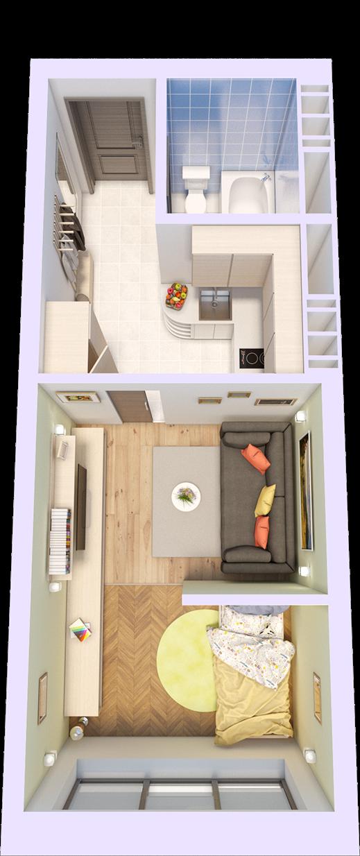 Квартира смарт - S на 2 комнаты